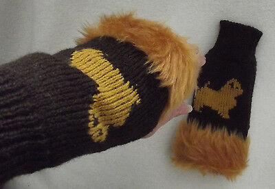 NORFOLK TERRIER dog on NEW knitted adult size FINGERLESS GLOVES - DARK BROWN