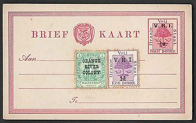 Orange Free State VRI ½d overprint of ½d postal card uprated ½d, 1d adhesives un