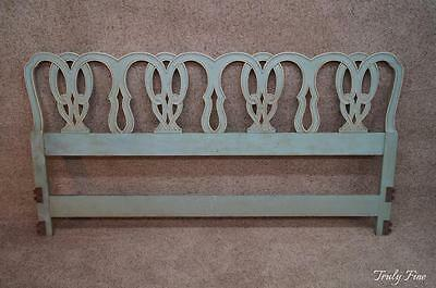 Hollywood French Regency Shabby Chic Solid Wood Hand Carved King Headboard Bed