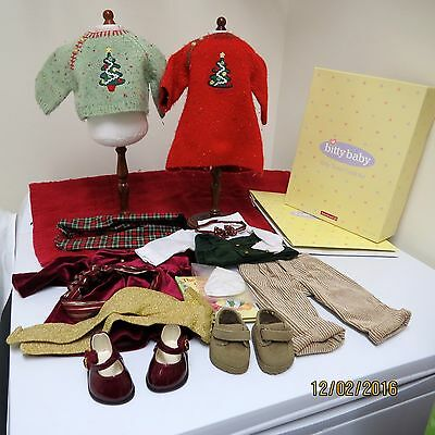 American Girl Bitty Twins 2 Christmas Outfits with Boxes Retired & Hard to Find