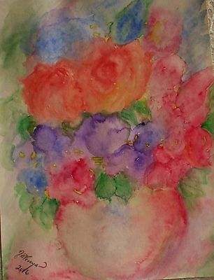 Watercolour Painting of Roses,impressionist,flowers,signed original,new