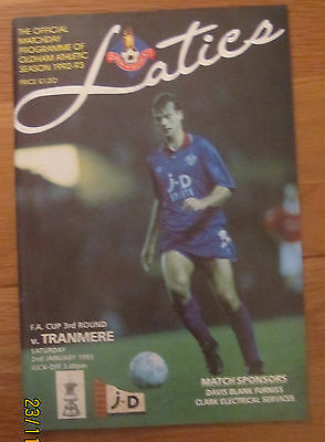 Oldham Athletic v Tranmere FA Cup 3rd Round programme 2.1.1993