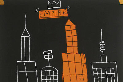 """Jean Michel Basquiat """"Mecca""""  Oil Painting on Canvas 28x28"""" Expressionism art"""