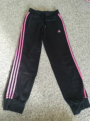 Adidas Black Pink Jogging Bottoms Track Bottoms Sports PE Age 9-10 Years