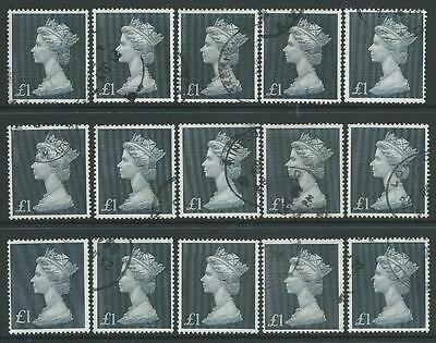 1969 MACHIN STERLING £1 BLACK x 15 FINE USED EXAMPLES
