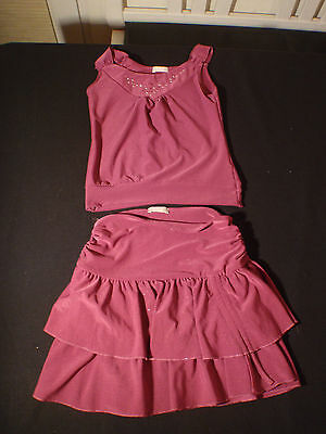 Girls Ra Ra Short Sleeved Burgundy 2 Piece Outfit Dark Pink Matalan Label CO