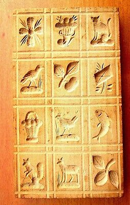 Christmas Springerle Wooden Cookie Press 12 Designs Hand-Carved, Early 1800's