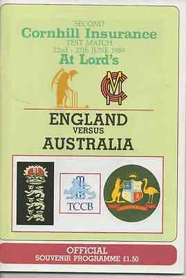 1989 England V Australia-Second Test-@lords-The Ashes Tour Cricket Programme