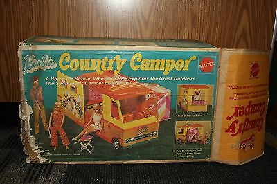 Vintage Toy 1970 Mattel Barbie Country Camper In Original Box Accessories, Too!