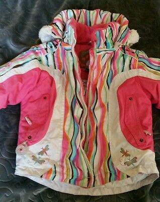 OBERMEYER Girl's Insulated Jacket, size Kids 4 pink striped