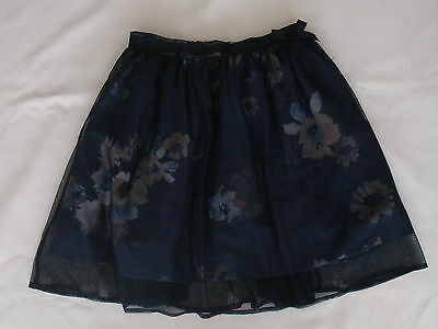Next Navy Blue Floral Skirt Size 9 Years