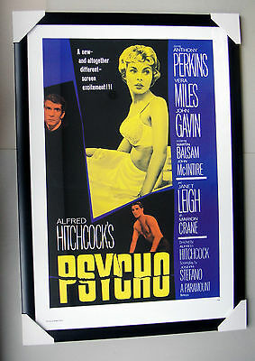 "PSYCHO framed POSTER ""Ready to Hang"" BLACK FRAME ""ALFRED HITCHCOCK"""