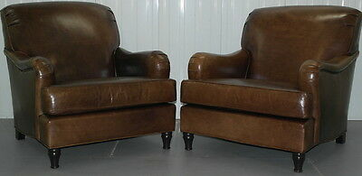 Pair Of Hand Dyed Aged Brown Leather Howard Style Armchairs Solid Wood Frame