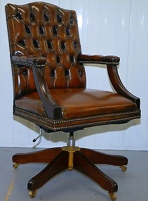 Restored Chesterfield Cigar Brown Leather Gainsborough Carver Captains Chair