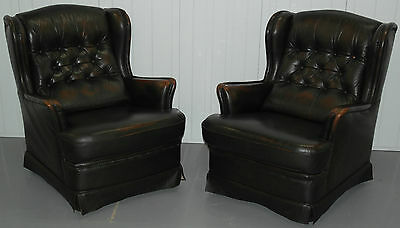 Pair Of Lovely Vintage 1970 Chesterfield Wingback Monks Brown Leather Armchairs