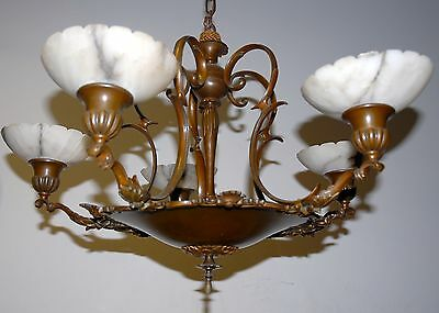 bronze 5-light chandelier with alabaster shades