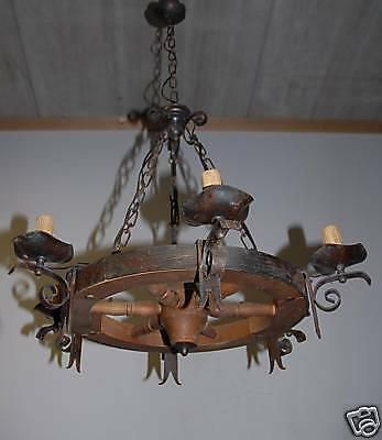 A Wrought-Iron / Wood Round 6 light Chandelier