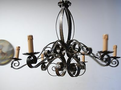 Wrought Iron Art Curled 6-light Chandelier