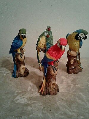 Lot of 4 Parrot Statues Macaw Blue Gold Red Set Figurines Polystone