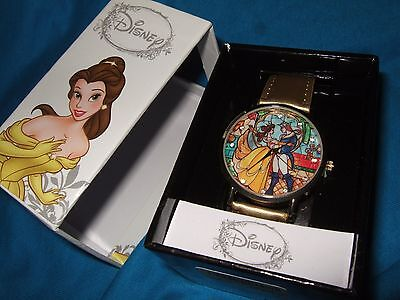New Disney Beauty And The Beast Princess Belle Stained Glass Watch & In Gift Box