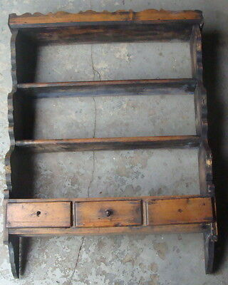 18th / early 19th C pine hanging plate shelf w 3 drawers, traces orig. paint *