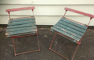 2 X  Vintage Camping Outdoor Picnic Chairs Folding Metal & Timber Retro