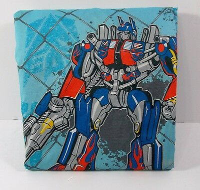 Transformers Twin Fitted Sheet Blue w/Optimus Bubblebee Fabric Material Crafts