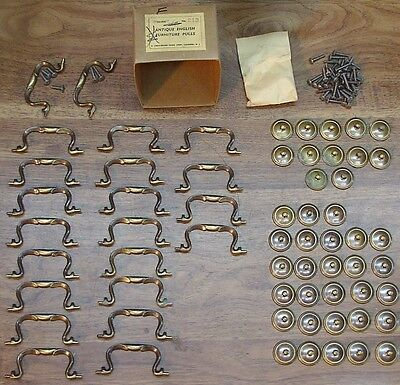 20 NOS Brass Drawer Pulls,Dresser,Bureau,Desk,Christensen #213 Ant.English,Lot 2