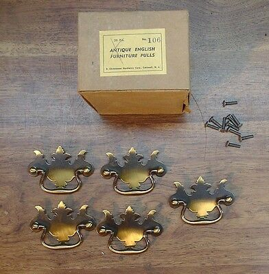 5 NOS Christensen Hdwe. #106 Antique Eng. Brass Drawer Pulls,Dresser,Bureau,Desk