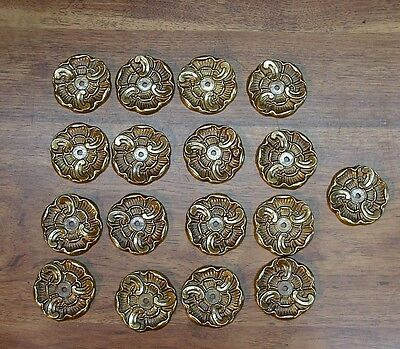 "17 NOS Brass Back Plates,Beautiful 2-1/2"" Diam,Christensen #2381 Antique English"