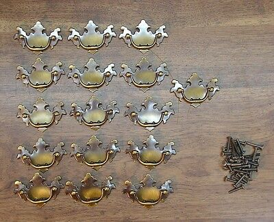 16 Brass Drawer Pulls,Dresser,Bureau,Desk,Christensen Hdwe.,Antique English