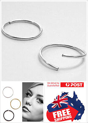 1pc Sterling silver Seamless Hoop Ring Silver Gold Black Nose Ear Lip Piercing