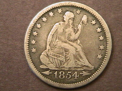1854-O Liberty Seated Quarter *arrows At Date / No Rays *very Nice Silver Coin!