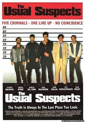 """THE USUAL SUSPECTS Laminated POSTER """"BRAND NEW"""" kevin spacey del toro bryne"""