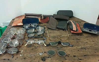 Vintage lot of eyeglasses and cases