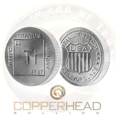 1x 1oz Elemental Titanium Coin .996 CP1 Grade Bullion 2018 Round Ingot Bar Ounce