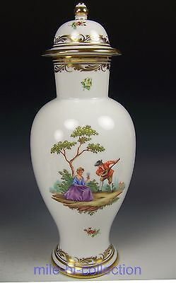 "Augarten Wien Austria Vienna Hand Painted Courting Couple 12.25"" Lidded Vase"
