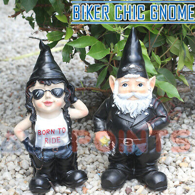 Garden Gnome Biker Chic Motor Bike Outfitted Gnomes Mooning Ornament Figurine