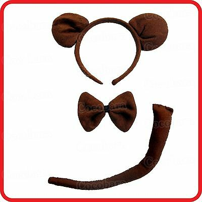 Monkey Headband Hairband With Ears+Bow Tie+Tail- 3Pc Dress Up Set -Costume -1