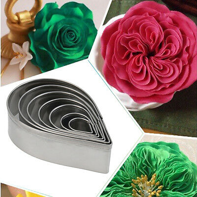 7pcs Stainless Steel Rose Petal Cake Cookie Cutter Mold Pastry Baking Mould BS