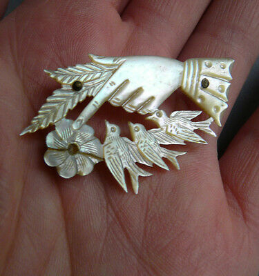 Regency Mother of pearl hand brooch with birds & flower- Unusual piece.