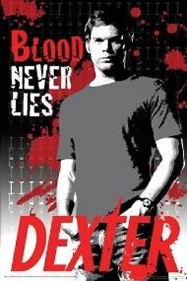 """DEXTER laminated POSTER """"LICENSED"""" BRAND NEW """"BLOOD NEVER LIES"""" MICHAEL C HALL"""