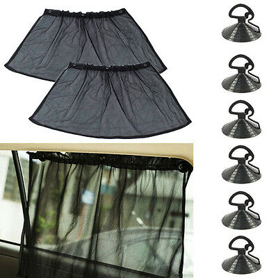1 Pair Black Car UV Protection Side Window Curtain Sun Shade With Suction Cup BS