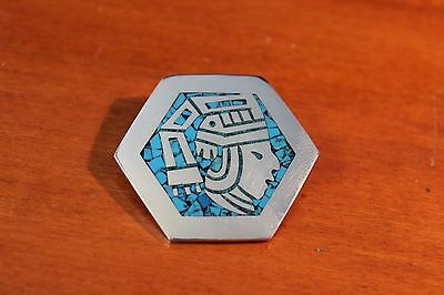 Sterling Silver Taxco Turquoise Inlay Aztec Design Pendant / Brooch Pin