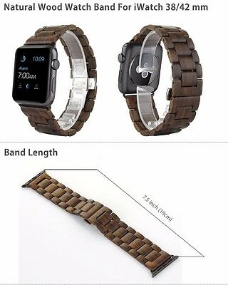 Natural Wood watch strap band for apple iwatch with band adaptor 38mm brown