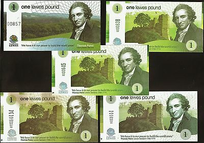 England / Lewes - 5 x £1's Banknotes, All the £1's issued by Lewes so far.  UNC.
