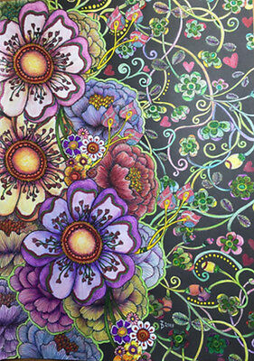 Midnight Garden Coloring Adult Book Heart & Flower Designs on a Black Background