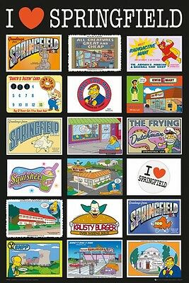 """THE SIMPSONS POSTER """"I LOVE SPRINGFIELD"""" LICENSED """"BRAND NEW"""" SIZE 61cm X 91.5cm"""
