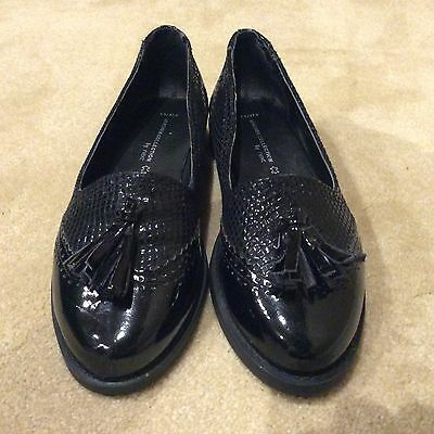 BLACK TASSEL SLIP ON SHOES/LOAFERS by NEXT/SIZE 4.5 TO 5