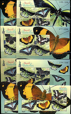 2016 Days 1 to 8 Butterflies Minisheets New York World Stamp Show Overprints